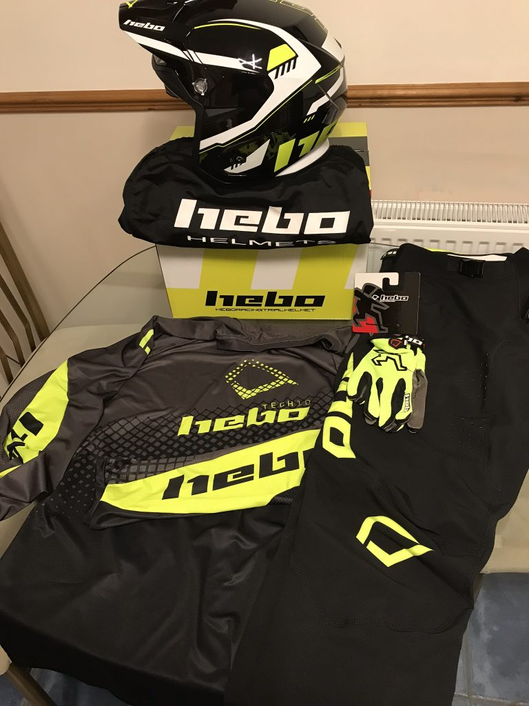Hebo 2019 Trials Tech 10 clothing and Zone 5 helmet